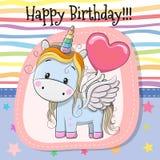 Cute Cartoon Unicorn with balloon. Greeting card Cute Cartoon Unicorn with balloon vector illustration