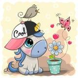 Greeting card cute cartoon Unicorn with flower. Greeting card cute cartoon Unicorn in a cap with flower royalty free illustration