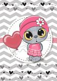 Greeting card Cute Cat with balloon and bonnet Royalty Free Stock Photo