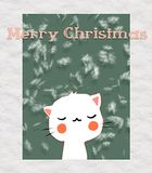 Greeting card with cute cat. Happy Smile. Unter snow. Marry Christmas and Happy New Year Royalty Free Stock Images