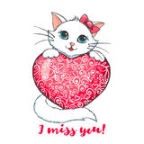 Greeting card with cute cat holding heart. Stock Photo