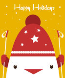 Greeting card. Cute cock in hat and ski poles. Happy Holidays. Stock Photos