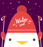 Greeting card with cute cock in red  hat and ski poles. Winter sport. Stock Images