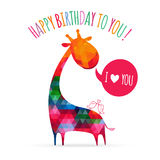 Greeting card with cute colorful giraffe. Stock Images