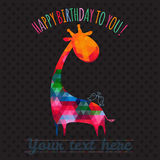 Greeting card with cute colorful giraffe. Royalty Free Stock Photo