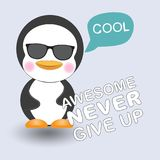 Greeting card Cute Cool penguin. Royalty Free Stock Photography