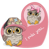 Greeting card Cute Dreaming Owl. On a heart background Royalty Free Stock Photo