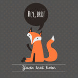 Greeting card with cute fox. holiday backdrop. vector illustrati Royalty Free Stock Photography