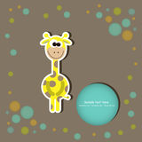 Greeting card with cute giraffes. vector illustrat Royalty Free Stock Photo