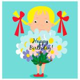 Greeting card with cute girl with bouquet Stock Photography