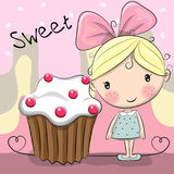 Greeting card Cute Girl with cake Stock Photo