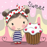 Greeting card Cute Girl with cake Royalty Free Stock Photo
