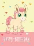 Greeting Card. Cute Girl. Cartoon Animals Vector. Lovely Horse Pony. Cartoon Animal Vector. Stock Images