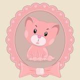 Greeting card Cute happy cartoon kitten. Stock Photo