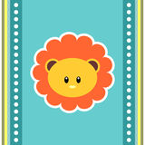 Greeting card with cute lion face Stock Image