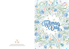 Greeting card with cute little flowers. 8 march - woman`s day. Ready to print card. Greeting card with cute blue little flowers. 8 march - woman`s day. Ready to stock illustration