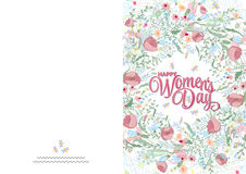 Greeting card with cute little flowers. 8 march - woman`s day. Ready to print card. Greeting card with cute pink little flowers. 8 march - woman`s day. Ready to stock illustration