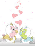 Greeting card with cute love birds couple. Stock Image
