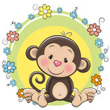 Greeting card cute Monkey Royalty Free Stock Images