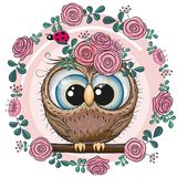 Greeting card Cute Owl with flowers stock illustration