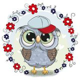 Greeting card Cute Owl with flowers. Greeting card Cute Cartoon Owl with flowers stock illustration