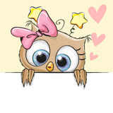 Greeting card cute Owl Girl Royalty Free Stock Photo