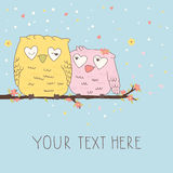 Greeting card with cute owls in love Royalty Free Stock Photos