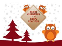Greeting card with cute owls for Merry Christmas and Happy New Year. Vector Illustration vector illustration