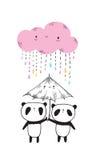 Cute pandas with umbrella. Stock Photo