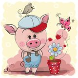 Greeting card cute Pig with flower Royalty Free Stock Photos