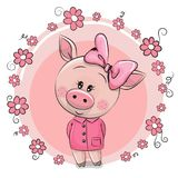 Greeting card Cute Pig with flowers Stock Image