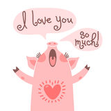 Greeting card with cute piglet. Sweet pig declaration I love you so much. stock illustration