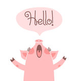 Greeting card with cute piglet. Sweet pig says hello. Royalty Free Stock Photography