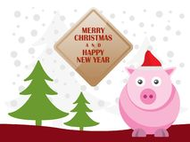 Greeting card with cute pigs for Merry Christmas and Happy New Year. Vector Illustration royalty free illustration
