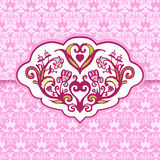 Greeting card cute pink vintage  layout Royalty Free Stock Photos
