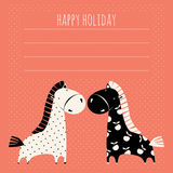 Greeting card with cute pony Stock Image