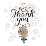 Greeting card with cute rabbit and handdrawn lettering Stock Image