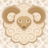 Greeting card with cute ram. Sheep symbol of New year 2015. Vector illustration Stock Images