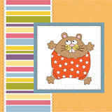 Greeting card with cute  rat Stock Image