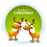 Greeting card with cute reindeer for Christmas. Royalty Free Stock Photography