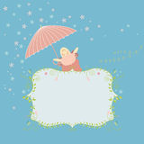 Greeting card with cute sheep Stock Photography