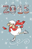 Greeting card.Cute sheep skating,knitted figures Stock Photo