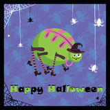 Greeting card with cute spider Stock Image