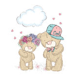 Greeting card with cute teddy bears. royalty free illustration