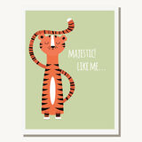 Greeting card with cute tiger and text message Stock Images