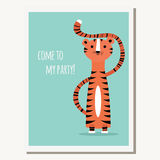 Greeting card with cute tiger and text message Royalty Free Stock Photos