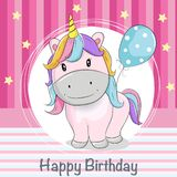 Greeting card cute unicorn with ballons vector illustration