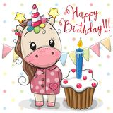 Greeting card Cute Unicorn with cake Royalty Free Stock Photo