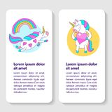 Greeting card with a cute unicorn with wings and a rainbow. A cute magical unicorn holds a big pink heart. Vector illustration. There is room for text Royalty Free Stock Photography