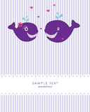 Greeting card with cute whales Stock Images